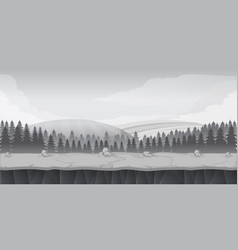 Black and white forest game background landscape vector