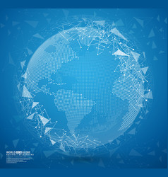 Blue abstract globe earth with connecting dots vector