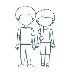 blue contour faceless couple girl with side braid vector image