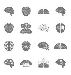 Brain icons black vector image