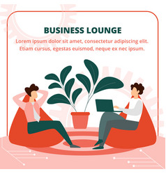 Business people sitting in armchair in lounge room vector