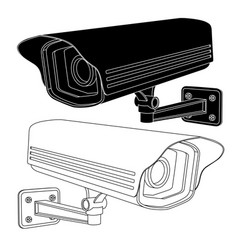 Cctv security camera black and white outline vector
