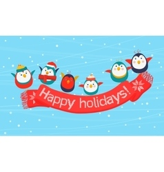 Christmas birds holding a scarf with the Happy vector image