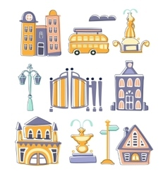 City Buildings And Other Elements Creative Design vector image vector image