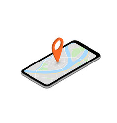 city map route navigation smartphone phone point vector image