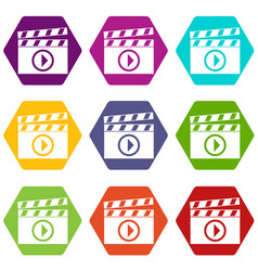 clapperboard for movie shooting icon set color vector image