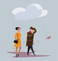 Cold windy weather flat vector