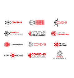 collection virus covid-19 concept inscriptions vector image