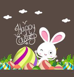 cute bunny easter eggs vector image