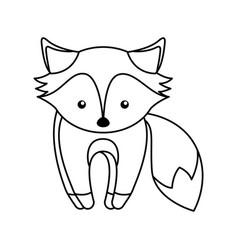 Cute line icon fox cartoon vector