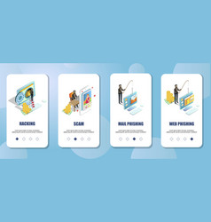 Cyber crimes mobile app onboarding screens vector