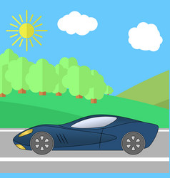 dark blue sport car on a road on a sunny day vector image vector image