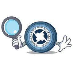 Detective 0x coin character cartoon vector