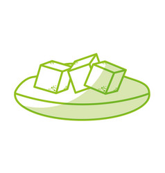 Dish with sugar cubes vector