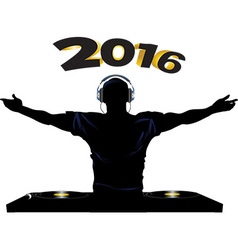 DJ and record decks party 2016 vector image