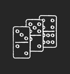 dominoes chalk white icon on black background vector image