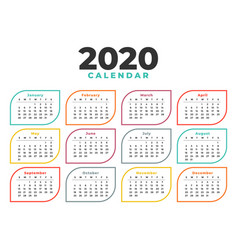 Elegant 2020 calendar design template in line vector