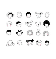 Faces of children cute cartoon boys and girls of vector