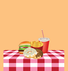 fast food on kitchen tablecloth vector image