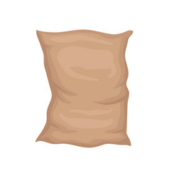 Flat icon of big textile bag full brown vector