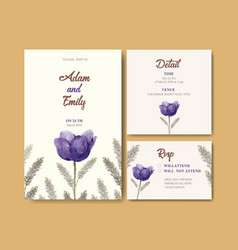 Floral wine wedding card design with tulip vector