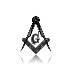 freemasonry emblem masonic square and compass vector image
