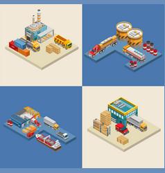 Freight transport near industrial facilities vector