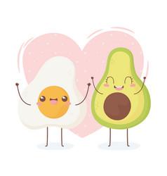 Fried egg and avocado kawaii food cartoon vector