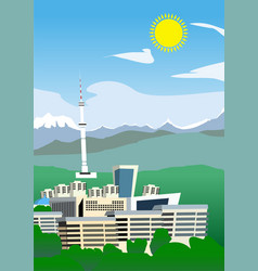 Funny semi-abstract image almaty city vector