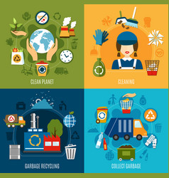 Garbage collecting design concept vector