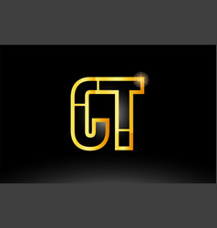 Gold black alphabet letter ct c t logo vector