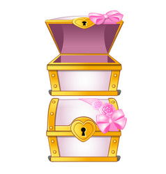graceful pink treasure chest decorated with flower vector image