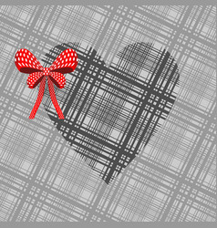 gray heart with a red bow vector image