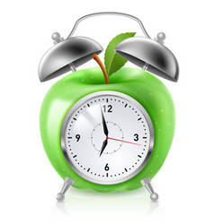 green apple alarm clock on white background for vector image