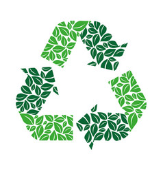Green recycling symbol with arrows and formed by vector