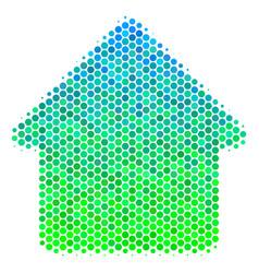 halftone blue-green cabin icon vector image