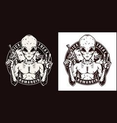 Halloween humanoid vintage round badge vector