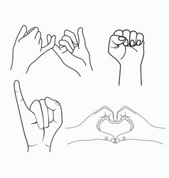 Hand drawn gestures collection vector