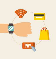 Hand with wearable technology online pay wifi vector
