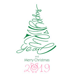 handwritten happy new year 2019 lettering in shape vector image