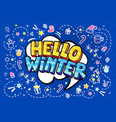 hello winter word bubble vector image