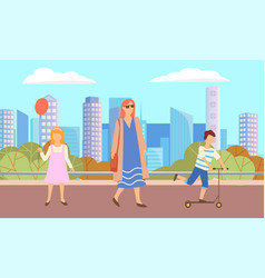 lady and girl with balloon boy on scooter in park vector image