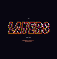 layers font 3d bold line style vector image