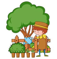 Little kids cartoon character in garden vector
