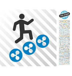 Man climb ripple coins flat icon with bonus vector