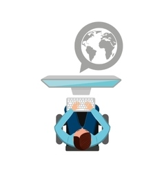 man working computer globe media design vector image