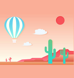 mesa cactus and air hot ballon in the vector image