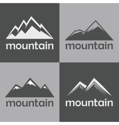 Mountain flat icons on gray background vector image