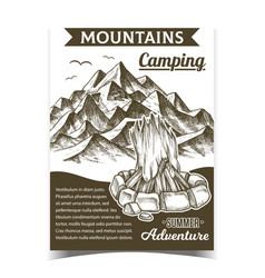 mountains camping fire advertising poster vector image