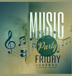 music party festival event poster design vector image vector image